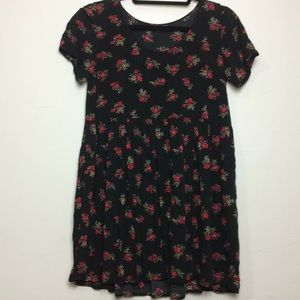 Black Babydoll Dress with Red Roses